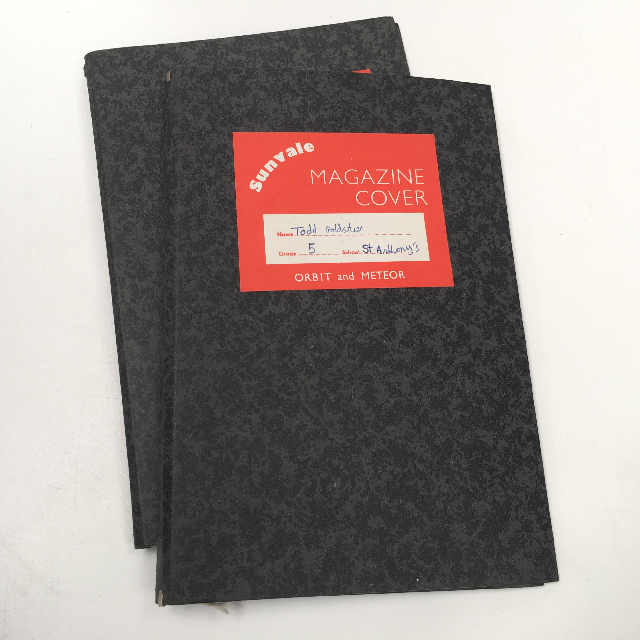 FOL0104 FOLDER, Period School Magazine Holder - Black Grey Card $3.75