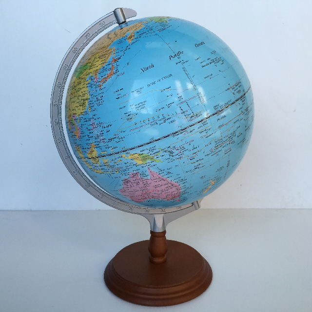 GLO0002 GLOBE, Large Blue on Timber Base 45cm H $25