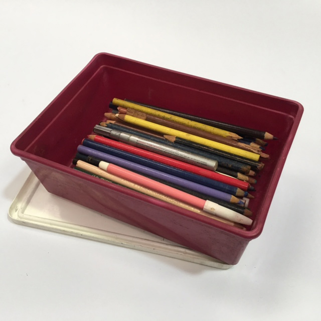 PEN0032 PENCIL BOX, Burgundy Ice Cream Tub w Lid $3.75
