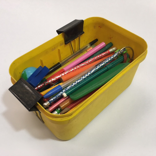 PEN0037 PENCIL BOX, Yellow Plastic Tub $6.25