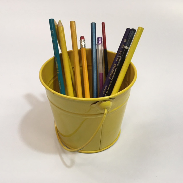 PEN0043 PENCIL CADDY, Yellow Bucket $3.75