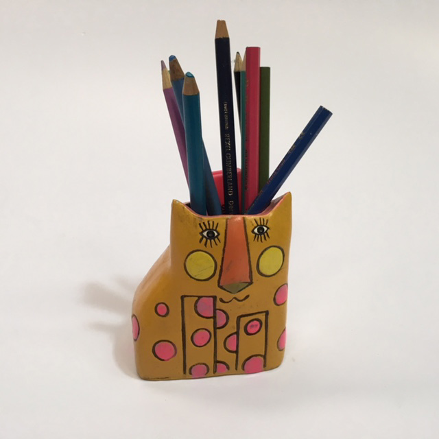 PEN0044 PENCIL CADDY, Yellow Cat $3.75
