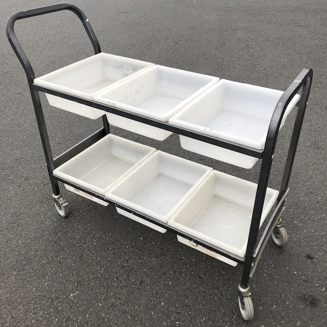 TRO0124 TROLLEY, Library Picking Style - White Plastic Tubs $45