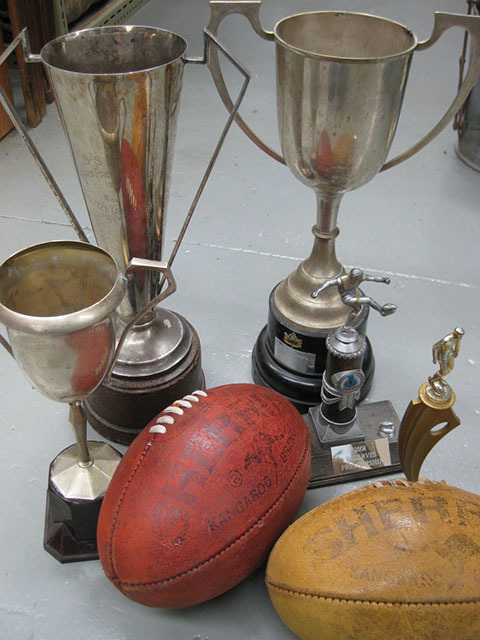 Assorted Trophies & Footballs