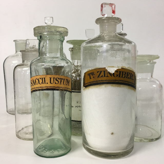 APOTHECARY BOTTLE, Clear Glass Assorted Medium ( APO0003) $7.50 or Large (APO0004) $12.50