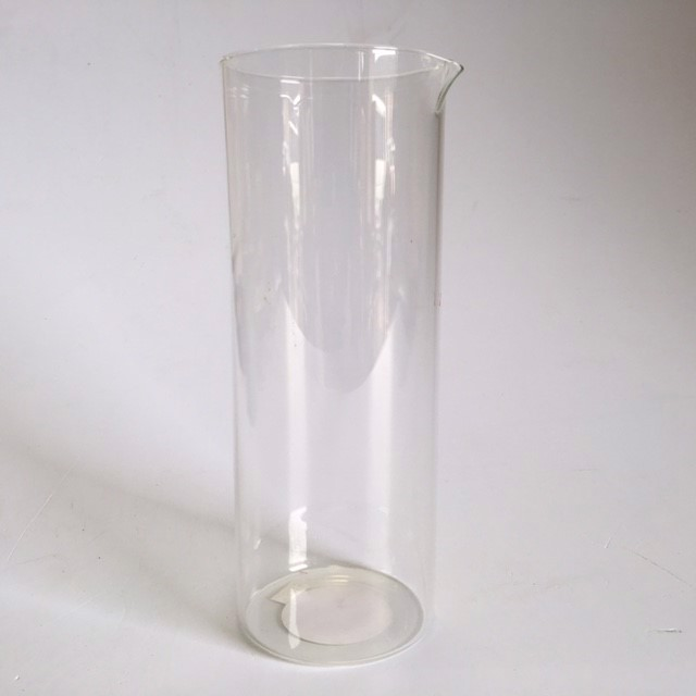 LAB0007 LAB GLASSWARE, Tall Cylindrical Glass w Lip - 9cm D x 24cm H $3