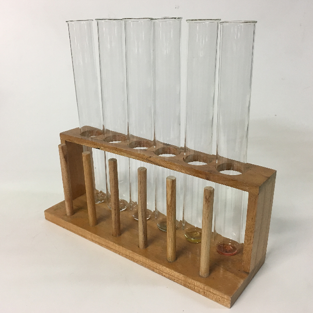 TES0003 TEST TUBE RACK, Natural Wood w 6 Test Tubes $7.50