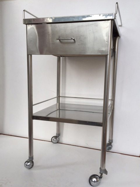 TRO0120 TROLLEY, Square Stainless Steel 2 Tier - 45 W x 95cm H $62.50