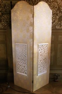 SCR0016 SCREEN, Gold Brocade Fabric 3 Panel (60cmW x 210cmH - Per panel) $100