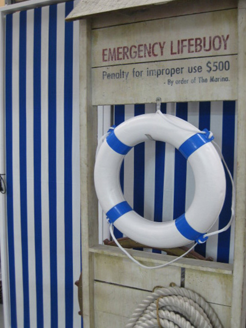 Nautical Stripe Screen and Lifering Stand