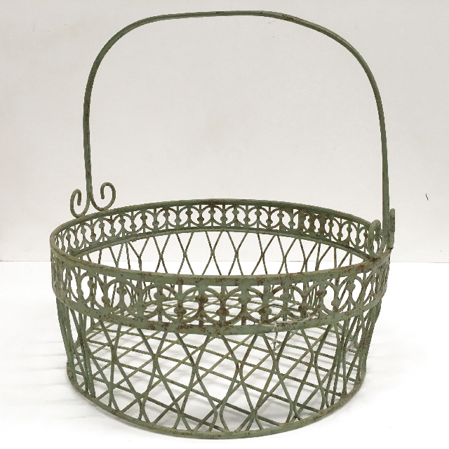 BAS0152 BASKET, Wire Grey Green w Handle $7.50
