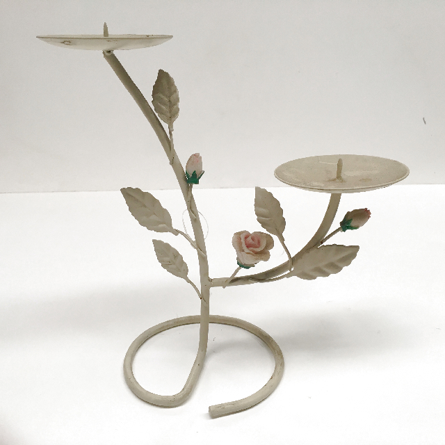 CAN0005 CANDELABRA, Standing Cream Metal w Petal Detail $3.75