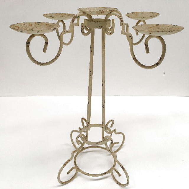 CAN0006 CANDELABRA, Cream Rusted Metal 5 Arm $6.25