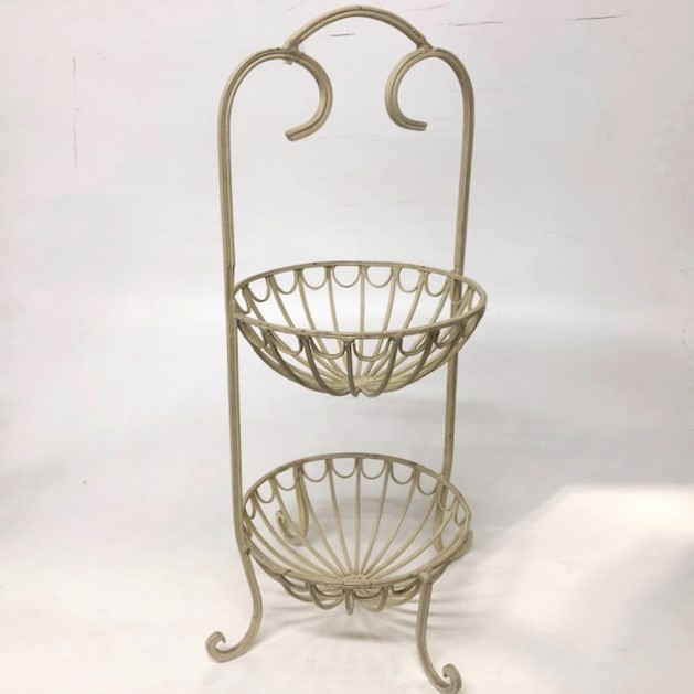 FRU0070 FRUIT STAND, FRUIT STAND, Cream Metal 2 Tier 30cm W x 62cm H $15