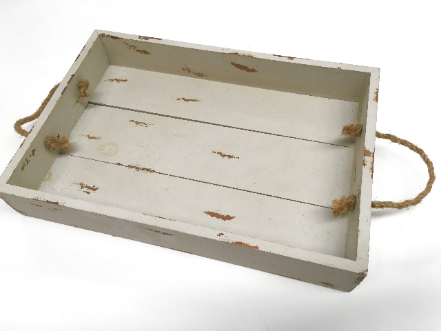 TRA0004 TRAY, Cream Timber w Rope Handles $6.25