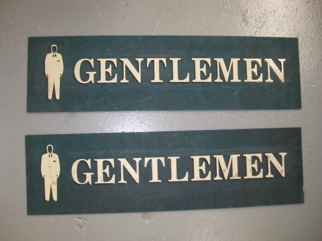 SIG0151 SIGN, Amenities - Gentlemen Green Gold $20