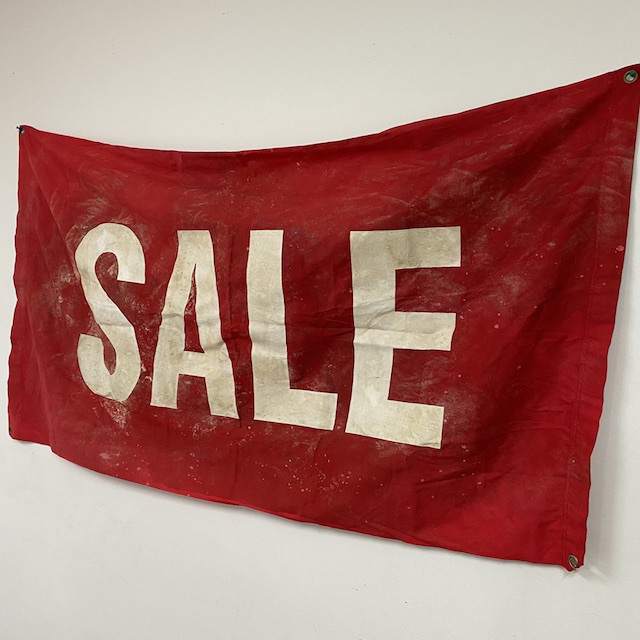 SIG0207 SIGN, Banner - SALE Red & White (Aged) 600 x 1200mm $22.5