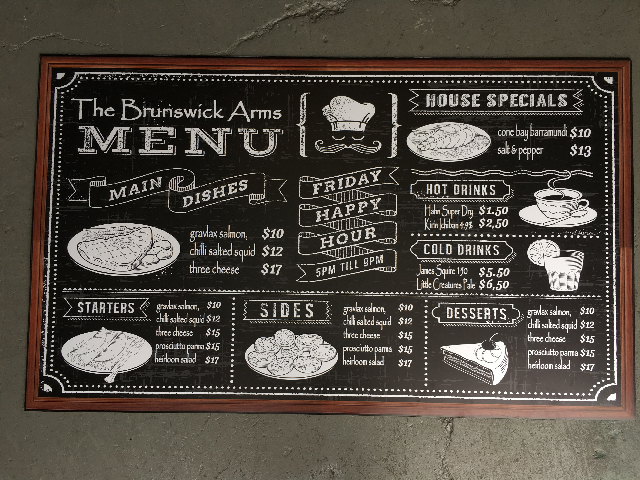 BLA0024 BLACKBOARD, Menu - Brunswick Arms Digital Print 90cm x 1.50m $37.50