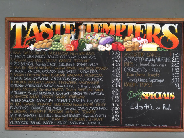 BLA0012 BLACKBOARD, Menu - Taste Tempters 1m x 1.6m $75