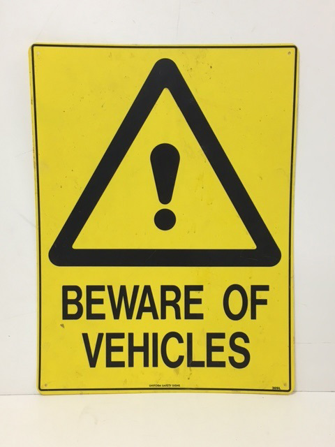 SIG0335 SIGN, Construction - Yellow Beware of Vehicles - vinyl $12.50