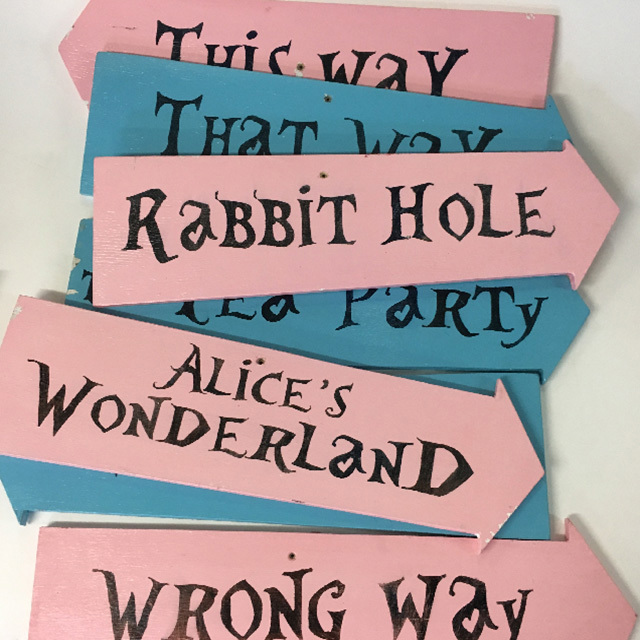 SIGN, Alice In Wonderland Pointer $12.50 Each