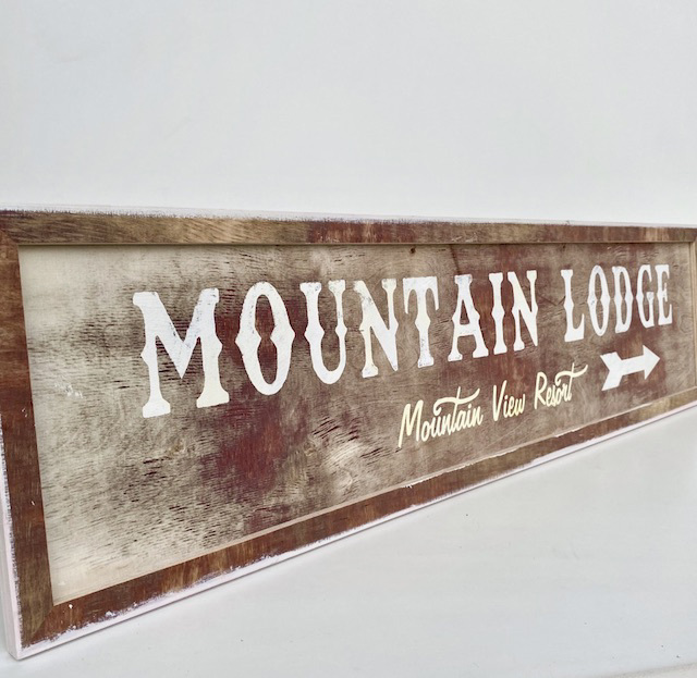 SIG0156 SIGN, Ski - 'Mountain Lodge' 800 x 200mm $37.50