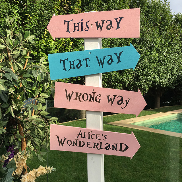Alice in Wonderland Sign Pointers $12.50 each on Sign Post $22.50