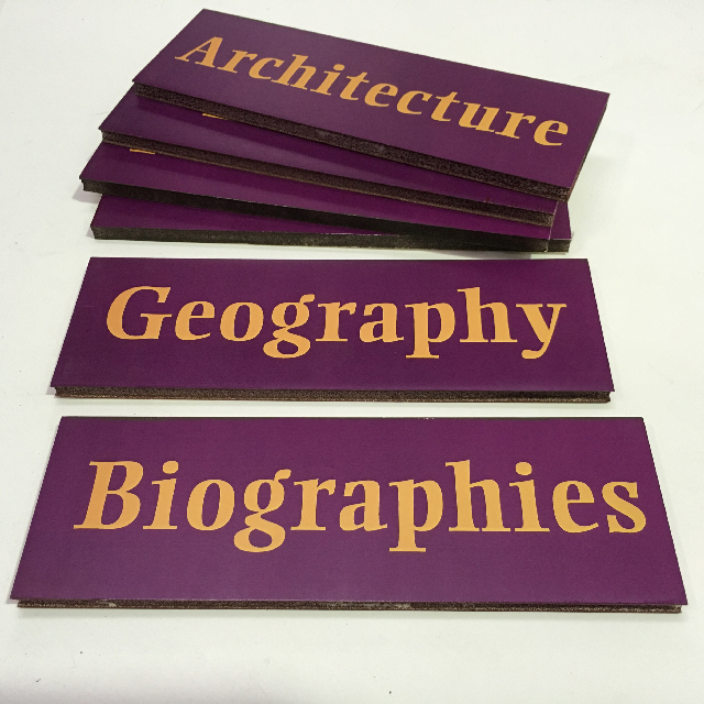 SIG0611 SIGN, Library Or Bookshop - Purple 25cm X 8cm $2.50