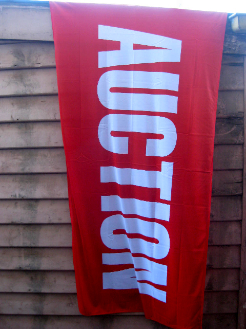 SIG0026 SIGN, Real Estate Flag - Red Auction 95cm x 1.8m $22.50