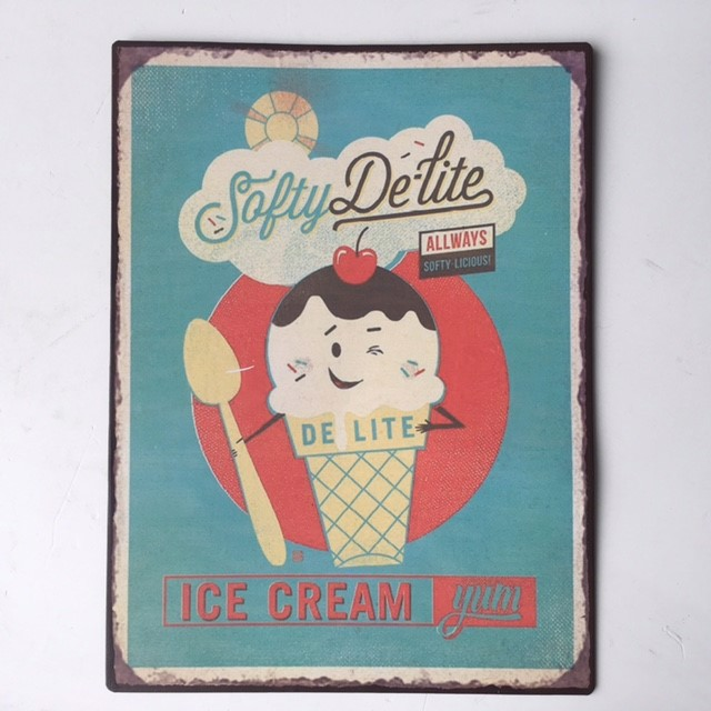 SIG0090 SIGN, Metal Ice Cream Yum Stall Sign 25 x 35cm $8.75