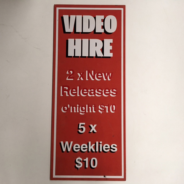 SIG0074 SIGN, Store - Video Hire Red 38 x 90cm $22.50