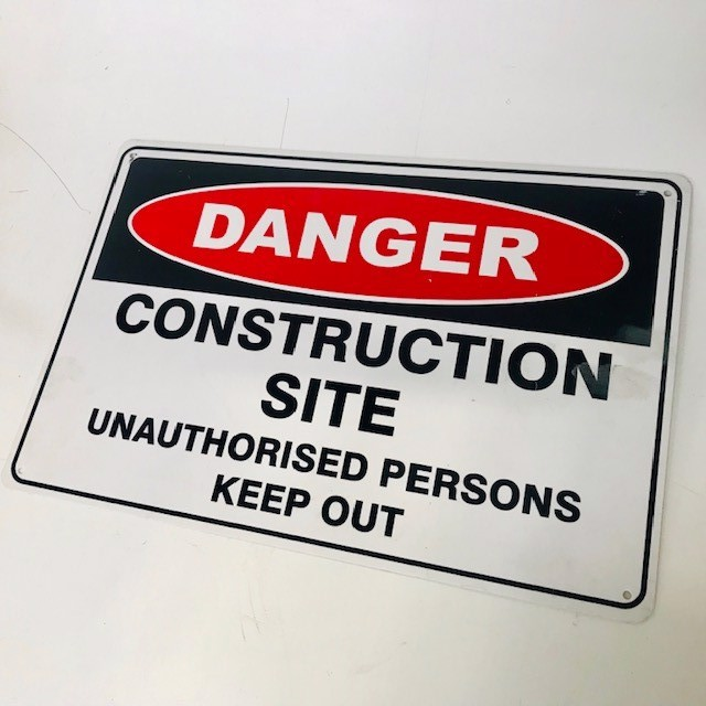 SIG0255 SIGN, Construction - Danger Construction Site 45 x 30cm $8.75