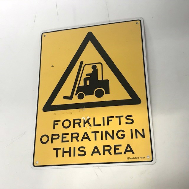 SIG0251 SIGN, Construction - Forklifts Operating In This Area 22 x 29.5cm $8.75