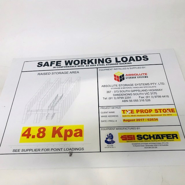 SIG0258 SIGN, Construction - Safe Working Loads 74 x 58cm $11.25