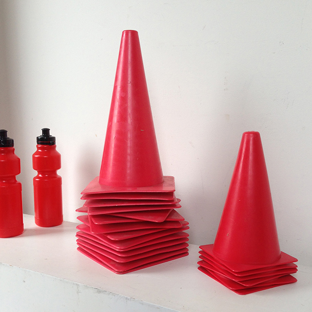 MAR0101 MARKER CONES, Red 24cm $3.25 (Pictured w MAR0102)