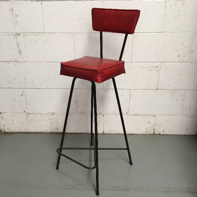 STO0106 STOOL, Bar Stool - Red Vinyl Seat with Back $18.75