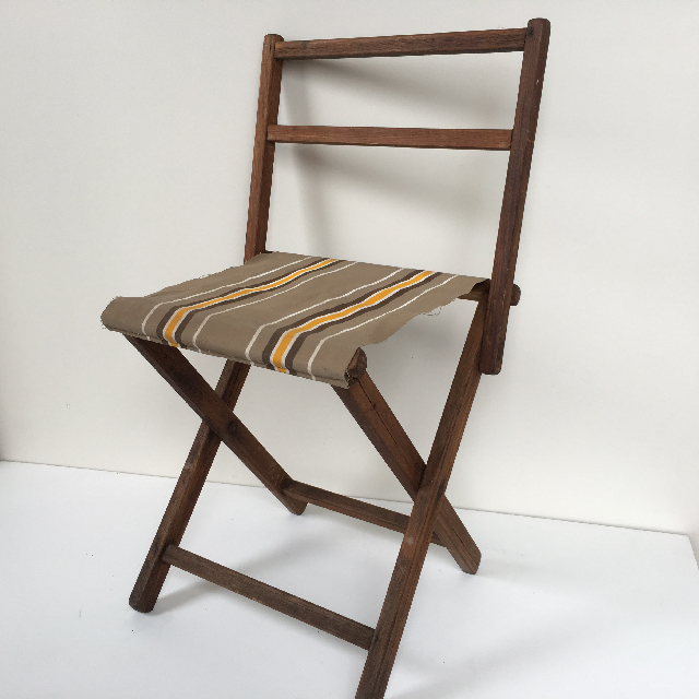 STO0209 STOOL, Camp - Timber Folding (with Back), Brown Stripe Vintage Canvas  $15