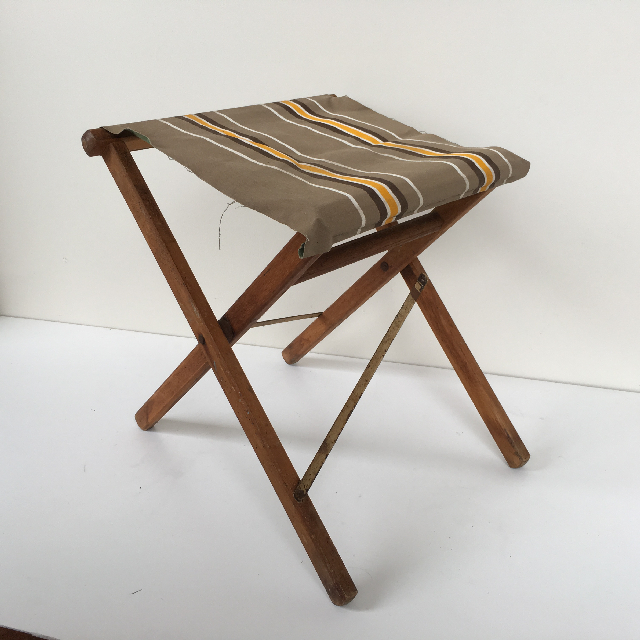 STO0210 STOOL, Camp - Timber Folding, Brown Stripe Vintage Canvas  $12.50