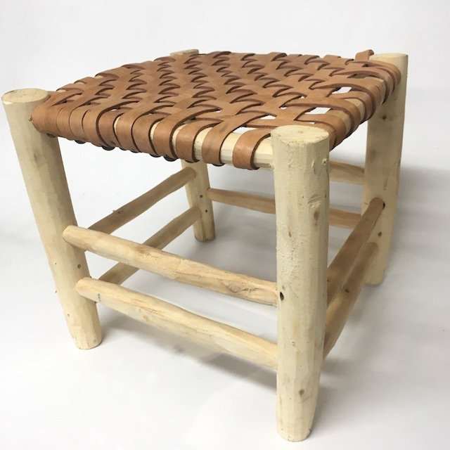 STO0319 STOOL, Raw Timber w Leather Woven Seat 32cm H $20