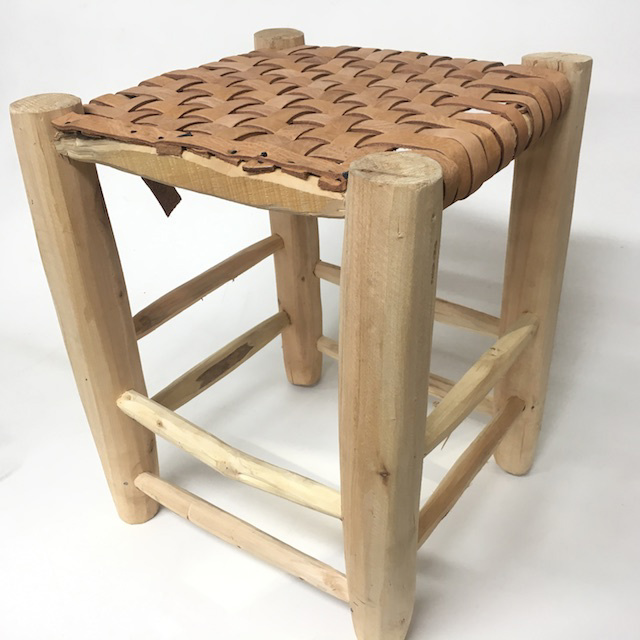 STO0320 STOOL, Raw Timber w Leather Woven Seat 40cm H $20