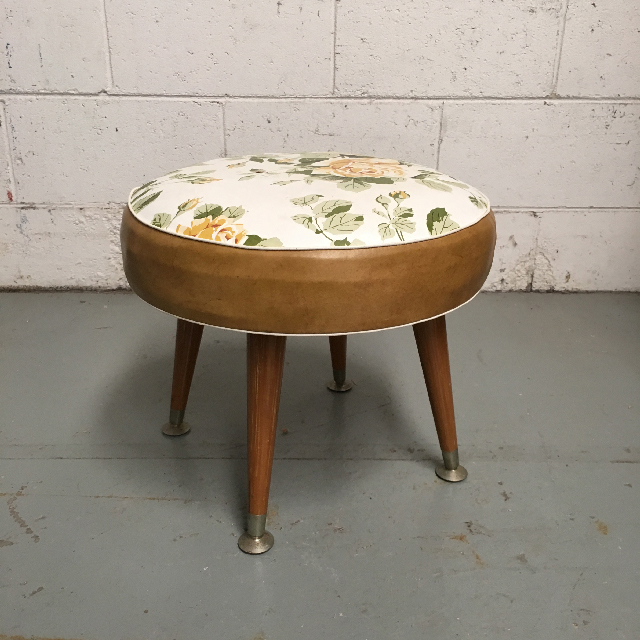 STO0305 STOOL, 1950s Low Floral Stool $18.75