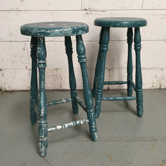 STO0109 STOOL, Bar Stool - Distressed Teal $15