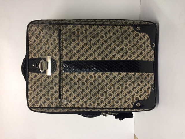 SUI0153 SUITCASE, Guess Large Fabric w Black Faux Snakeskin Trim $30