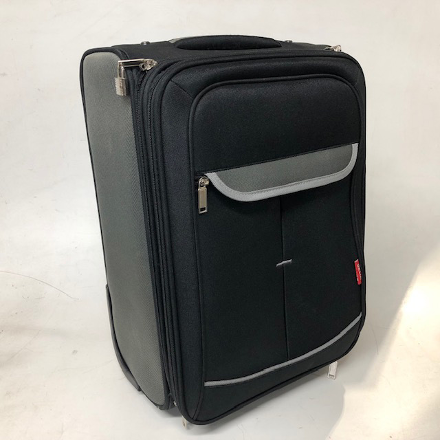 SUI0157 SUITCASE, Cabin Bag - Black & Grey Delta $18.75