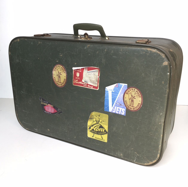 SUI0024 SUITCASE, Medium Dark Green w Stickers - 1960-70s $18.75