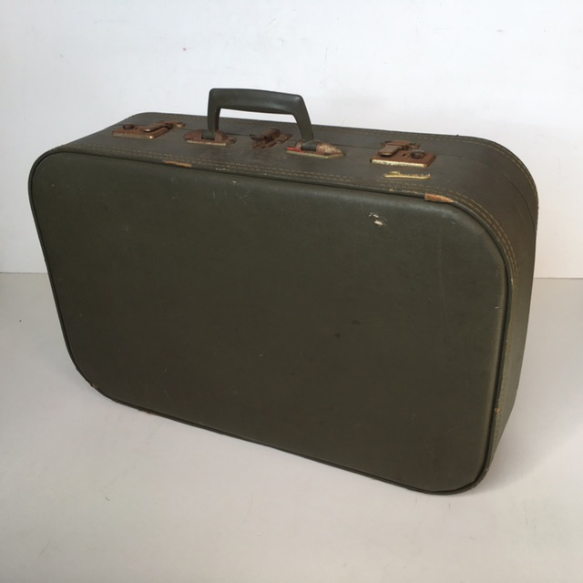 SUI0031 SUITCASE, Medium Olive Green Hardcase - 1960-70s $18.75