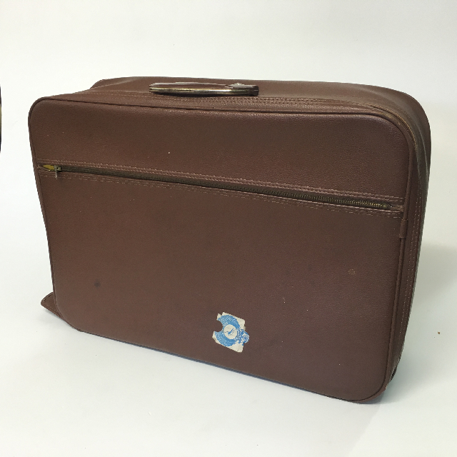 SUI0032 SUITCASE, Small Brown Vinyl w Zip - 1960-70s $15