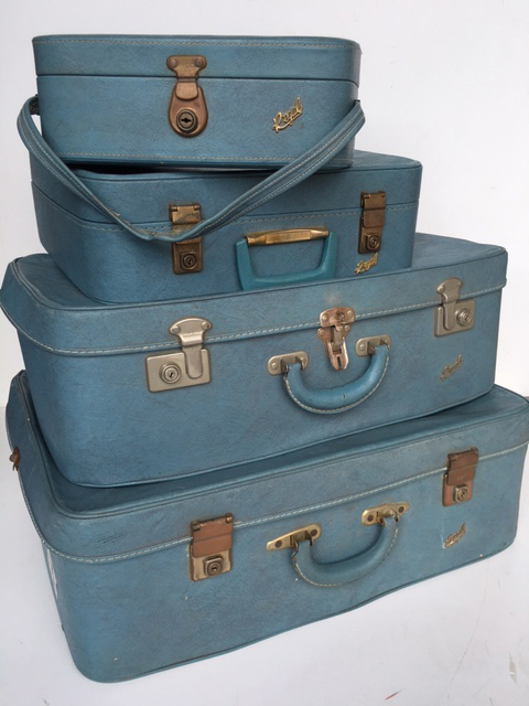 SUITCASE SET, Blue Regal - 1960s Large (SUI0034) $22.50, Medium (SUI0035) $18.75, Small (SUI0036) $15, Beauty Case (BEA0004) $16.25