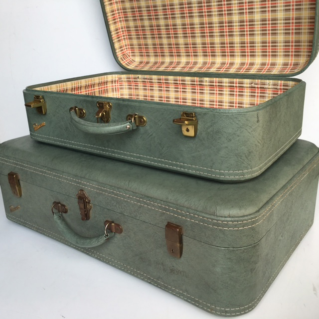 SUITCASE, Green Permacase - 1960s Large (SUI0037) $22.50, Medium (SUI0038) $18.75 (Open View)
