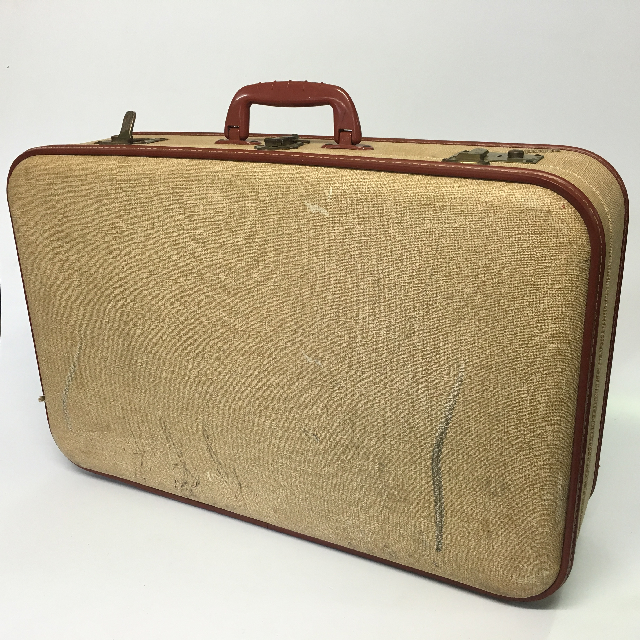 SUI0041 SUITCASE, Medium Cream w Brown Trim - 1960s $18.75